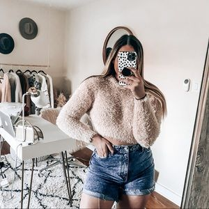 Urban outfitters fuzzy cropped sweater